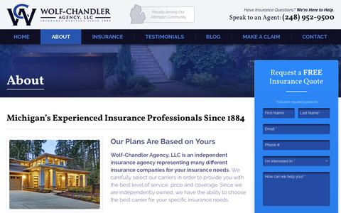 Screenshot of About Page wolfchandler.com - About - Wolf-Chandler Agency, LLC - captured Nov. 4, 2017