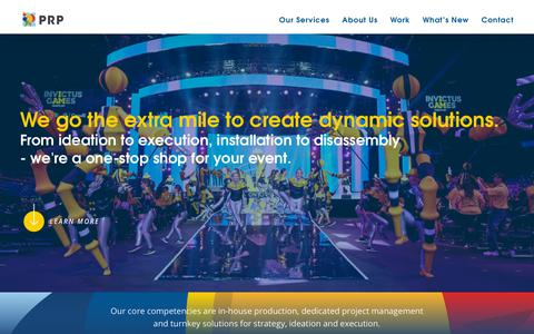 Screenshot of Services Page prpconnect.com - Our Services | Sport Production, Experiential Marketing and Events - PRP Inc - captured Sept. 27, 2018