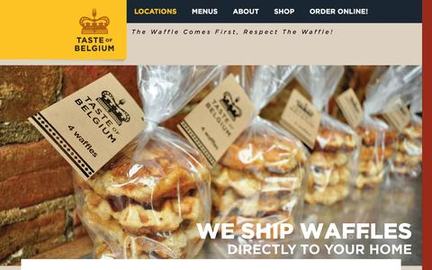 Screenshot of Home Page About Page Locations Page authenticwaffle.com - Taste of Belgium - Authentic Belgian Delights - captured Feb. 13, 2016