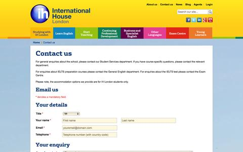 Screenshot of Contact Page ihlondon.com - Contact us | International House London - captured Sept. 25, 2014