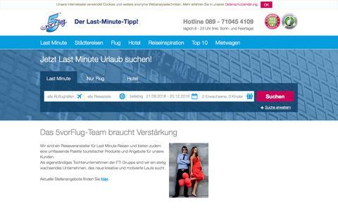 Screenshot of Jobs Page 5vorflug.de - Jobs Reise - Stellenangebote Reiseverkehrskauffrau München bei 5vorFlug - captured Sept. 22, 2018