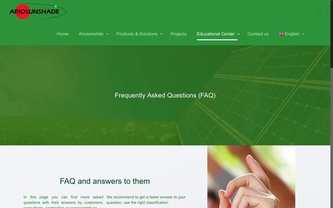 Screenshot of FAQ Page ariosunshade.co.ir - Frequently Asked Questions (FAQ) – Ariosunshade - captured Nov. 21, 2016