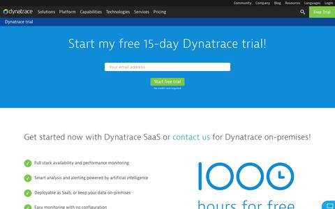 Screenshot of Trial Page dynatrace.com - Dynatrace trial | Dynatrace - captured Feb. 14, 2017