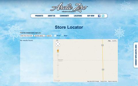 Screenshot of Locations Page arcticzero.com - Arctic Zero – Store Locator - captured Sept. 19, 2014