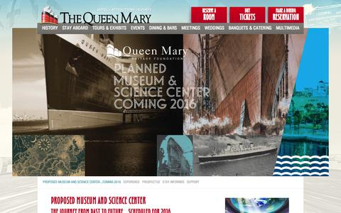 Screenshot of About Page queenmary.com - About the Proposed Museum and Science Center - captured Nov. 4, 2014