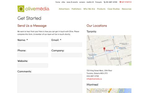 Screenshot of Contact Page olivemedia.ca - Get Started | Olive Media - captured Sept. 19, 2014