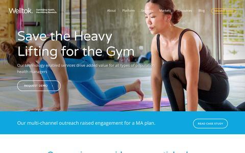 Screenshot of Services Page welltok.com - Welltok l Optimizing Health, Maximizing Rewards |   Services - captured Jan. 11, 2017