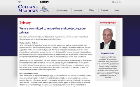 Screenshot of Privacy Page culhanemeadows.com - Privacy Policy | Culhane Meadows PLLC - captured Nov. 2, 2014