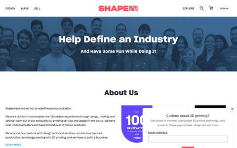 Screenshot of Jobs Page shapeways.com - Careers at Shapeways - captured Sept. 8, 2018