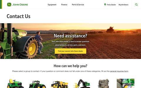 Screenshot of Contact Page deere.com - Contact Us | John Deere US - captured Aug. 18, 2019