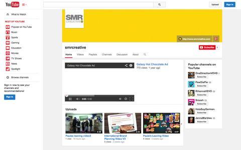 Screenshot of YouTube Page youtube.com - smrcreative  - YouTube - captured Oct. 23, 2014