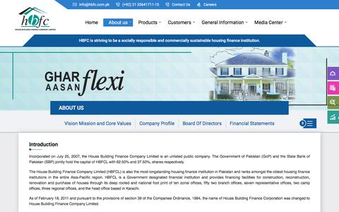 Screenshot of About Page hbfcl.com - House Building Finance Company - captured July 10, 2019