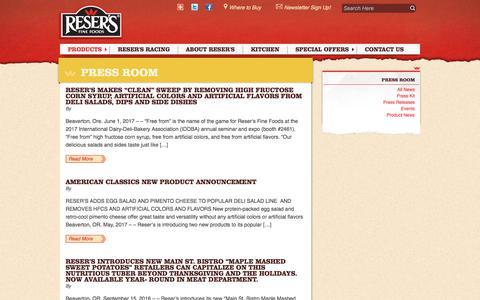 Screenshot of Press Page resers.com captured June 28, 2017