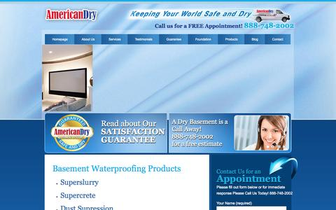 Screenshot of Products Page americandrybasementsystems.com - Basement Waterproofing Products in Connecticut | American Dry - captured Sept. 30, 2014