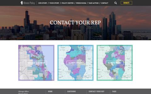 Screenshot of Maps & Directions Page illinoispolicy.org - Find and contact your Illinois state senator, house representative or Chicago alderman | Illinois Policy | Illinois' comeback story starts here - captured Oct. 4, 2016