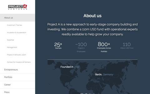 Screenshot of About Page project-a.com - Project A Ventures | We build companies | About us - captured March 29, 2016
