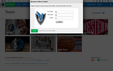 Screenshot of Team Page mavs.com - Team - Official Website of the Dallas Mavericks - captured April 27, 2016