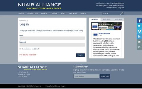 Screenshot of Login Page nuairalliance.org - Log in » NUAIR Alliance - captured Nov. 30, 2016