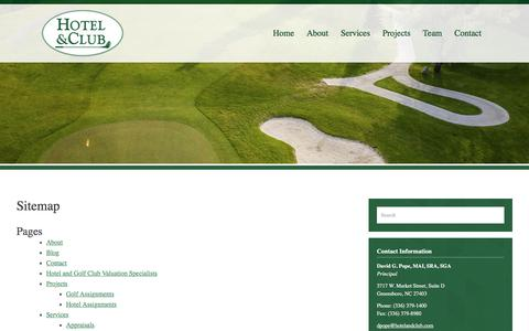 Screenshot of Site Map Page hotelandclub.com - Sitemap - Hotel and Golf Associates, Inc - captured Sept. 3, 2017
