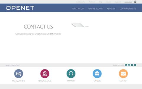 Screenshot of Contact Page openet.com - Contact Us | Openet - captured July 20, 2014