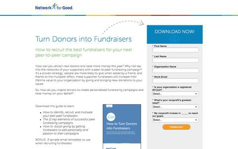 Screenshot of Landing Page networkforgood.com - How to Recruit Fundraisers for your Peer-to-Peer Campaign - captured Sept. 20, 2017