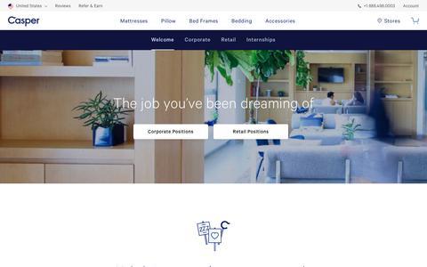 Screenshot of Jobs Page casper.com - Job you've been dreaming of | Casper® - captured April 17, 2019