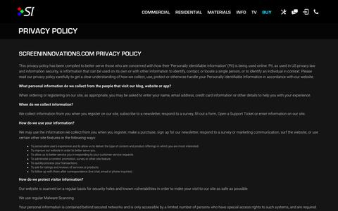 Privacy Policy | Projector Screens | Screen Innovations
