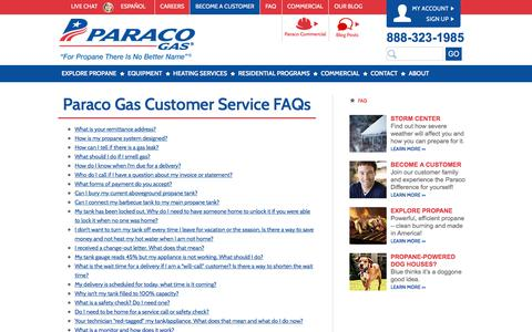 Screenshot of FAQ Page paracogas.com - Frequently Asked Questions | FAQ | Paraco Gas - captured July 14, 2017