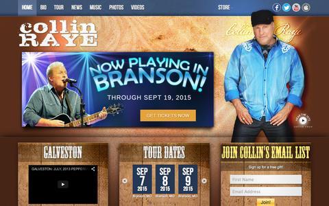 Screenshot of Home Page collinraye.com - Official Collin Raye Site - captured Sept. 6, 2015