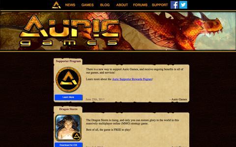 Screenshot of Press Page auricgames.com - Auric Games: News - captured Oct. 4, 2014