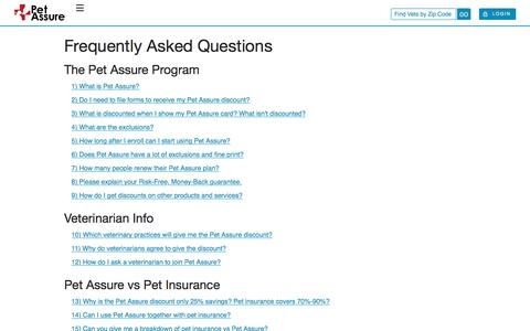 Screenshot of FAQ Page petassure.com - Pet Plan FAQ | Learn How to Save With Pet Assure - captured May 16, 2017