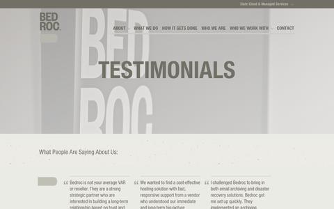 Screenshot of Testimonials Page bedroc.com - Testimonials | Bedroc - Bedroc - captured Oct. 5, 2018