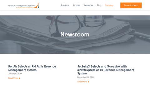 Screenshot of Press Page revenuemanagement.com - RMS | News & Press - captured Nov. 12, 2017