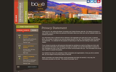 Screenshot of Privacy Page boise.org - Boise Convention & Visitors Bureau :: privacy policy - captured Oct. 5, 2014