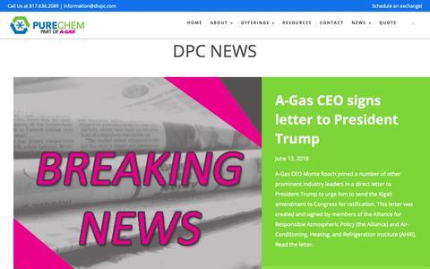 Screenshot of Press Page divpc.com - PURECHEM Announcements, News, & Press Releases | PURECHEM - captured Oct. 9, 2018