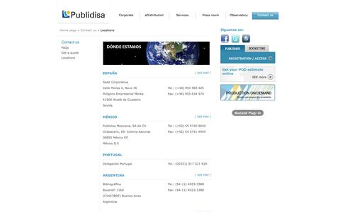 Screenshot of Locations Page publidisa.com - Publidisa. Applying New Technologies to the Publishing Industry - captured Nov. 4, 2014