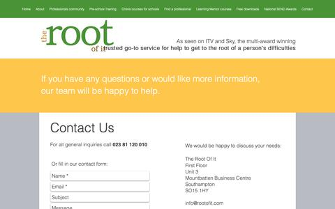Screenshot of Contact Page rootofit.com - Contact The Root Of It - captured Oct. 18, 2018