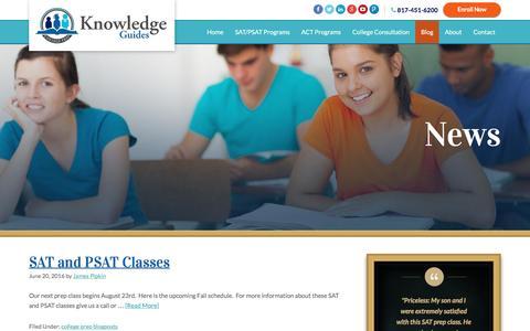 Screenshot of Blog knowledgeguides.net - SAT and ACT Tutoring   Blog - captured Aug. 9, 2016