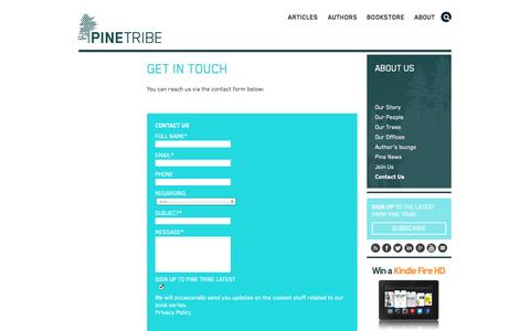 Screenshot of Contact Page pinetribe.com - Contact Us - Pine Tribe - captured Sept. 19, 2014