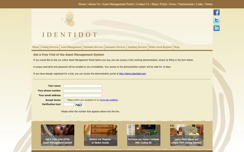 Screenshot of Trial Page identidot.com - Identidot Coding Services - Asset Management Portal Trial Registration - captured Nov. 6, 2018