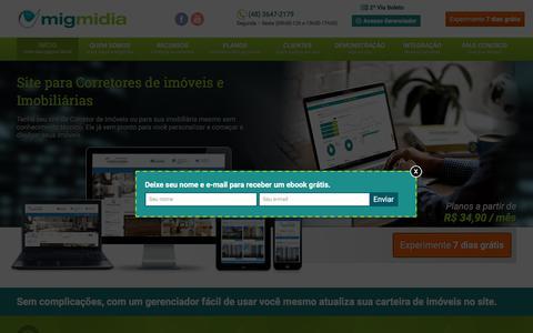 Screenshot of Home Page migmidia.com.br - Migmidia - Site para Corretores de Imóveis por R$ 34,90 - captured Nov. 2, 2017