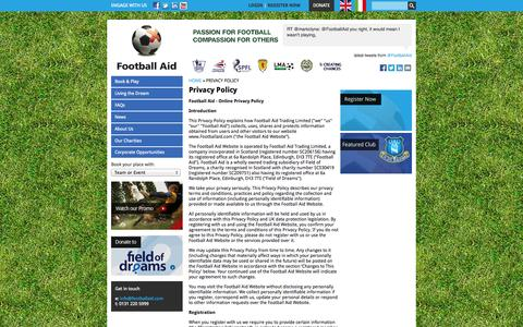 Screenshot of Privacy Page footballaid.com - Privacy Policy | Football Aid - captured Oct. 27, 2014