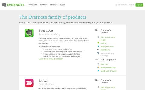 Screenshot of Products Page evernote.com - The Evernote family of products | Evernote - captured July 20, 2014