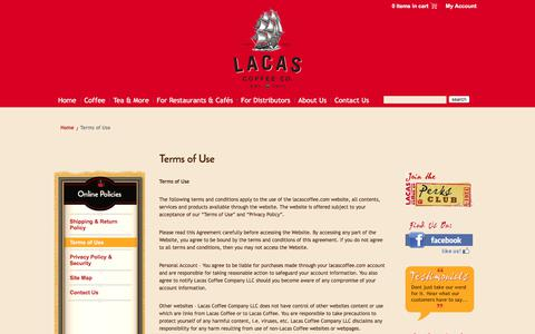 Screenshot of Terms Page lacascoffee.com - Terms of Use - Lacas Coffee Co. - captured July 5, 2017