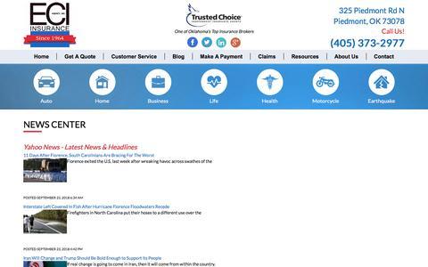 Screenshot of Press Page eciagency.com - News Feeds - ECI Agency Inc - captured Sept. 25, 2018