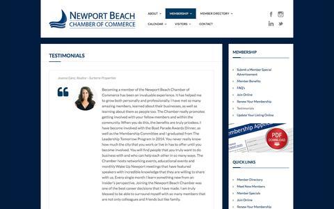 Screenshot of Testimonials Page newportbeach.com - Testimonials - Newport Beach Chamber of Commerce - captured Dec. 14, 2016