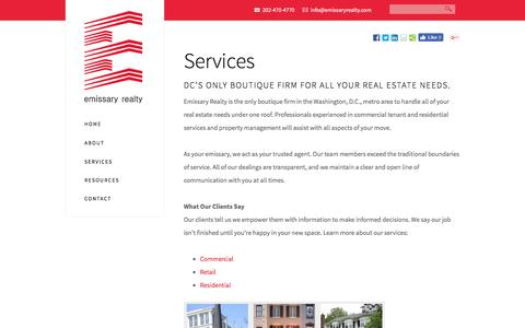 Screenshot of Services Page emissaryrealty.com - Services - Emissary Realty - captured July 13, 2016