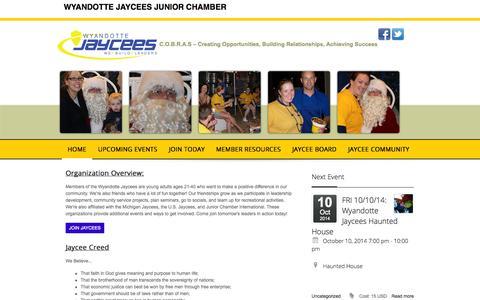 Screenshot of Home Page wyandottejaycees.org - HOME - captured Oct. 9, 2014
