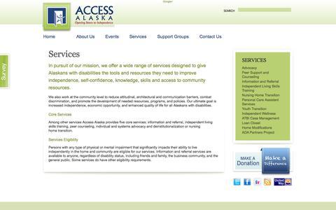 Screenshot of Services Page accessalaska.org - Services   Access Alaska - captured Sept. 30, 2014