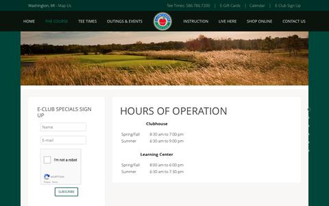 Screenshot of Hours Page orchards.com - Hours of Operation - captured April 24, 2017